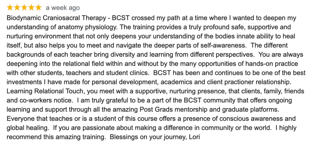 google review of biodynamic craniosacral therapy training in vernon bc